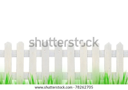 old white fence and grass for background