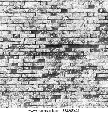 Old white grungy brick wall, square background texture - stock photo