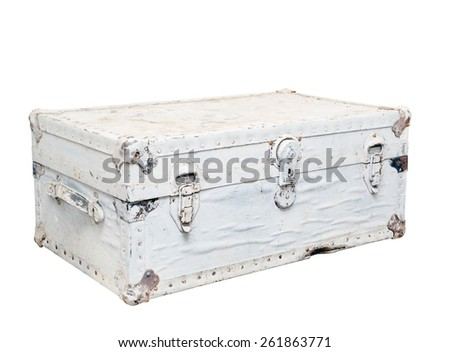 old white leather suitcase with metal locks, isolated - stock photo