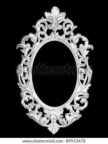 Old white mirror carved - stock photo