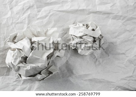 old white paper texture with paper ball background - stock photo