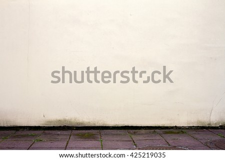 Old white plastered wall background - stock photo