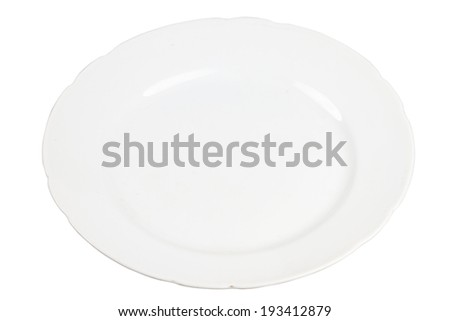Old white plate isolated on white background