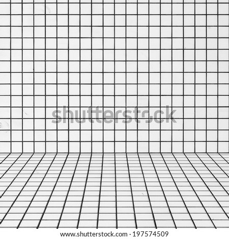old white tiled wall background - stock photo