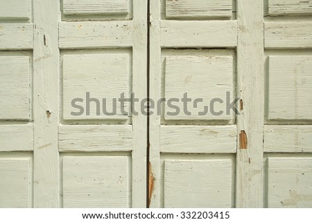 old white wooden church door, detail - stock photo