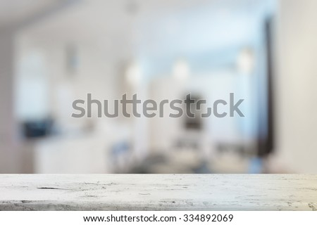 old white wooden table in the living room - stock photo