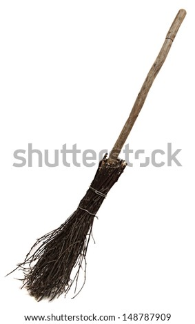 Old wicked broom isolated on white . witch's broomstick. A besom or more commonly known as the witches broomstick .It was often utilized in the magical practices of the Middle Ages  - stock photo