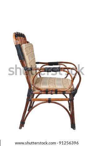 Old wicker chair isolated on white background