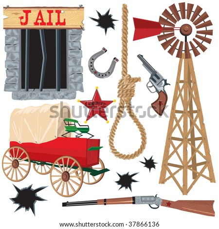 Old wild west icons, isolated on white - stock photo