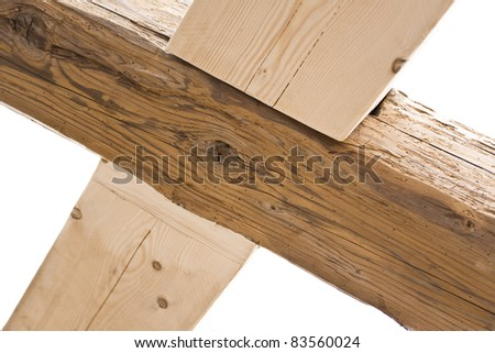 old wind bracing in old house. - stock photo