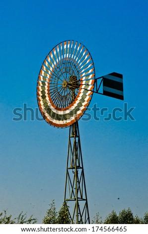 old  wind turbine - stock photo
