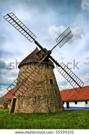 Old windmil in Kuzelov, Czech Republic - stock photo