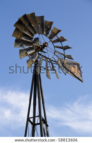 Old Windmill and Blue Sky with Clouds