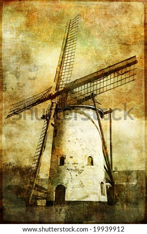 old windmill - artistic vintage picture - stock photo