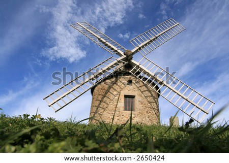 Old windmill in brittany, France (Lancieux)