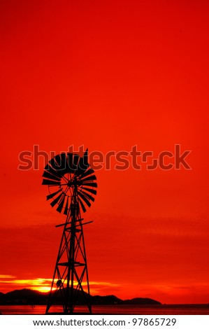 old windmill Silhouette Sunset