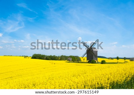 Old windmill surrounded by canola fields in East-Pomerania, Germany - stock photo