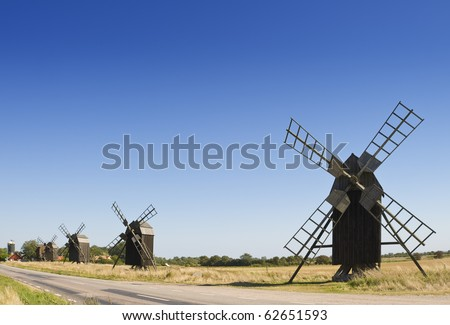 Old windmills on the island Oeland, Sweden - stock photo