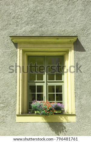 Old window and flowers at an old building