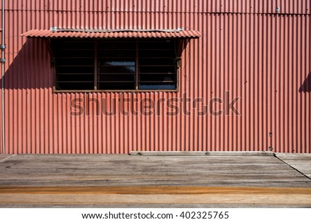 Old window and wall in Penang. Old and Vintage wall. Color zinc sheets background and texture space for background and copy. - stock photo