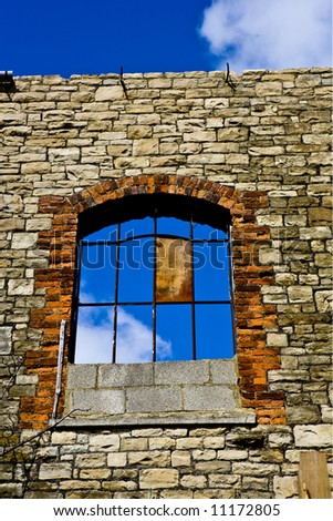 Old Window in disused building - stock photo