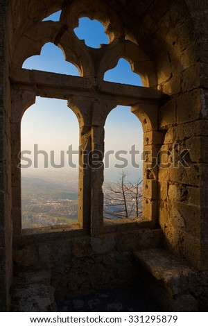 Old window in the castle of Saint Hilarion. Cyprus