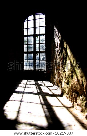 old window of the castle - stock photo