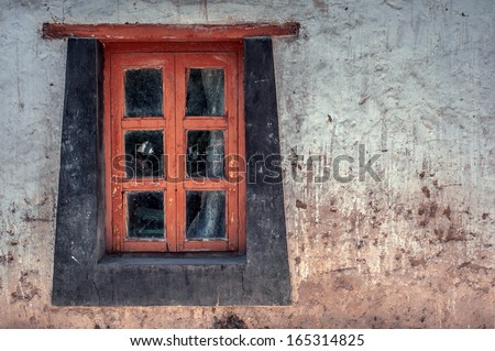 old window on tibetan building