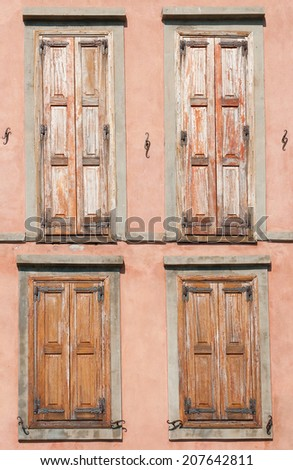 Old window shutters on a house in Greece