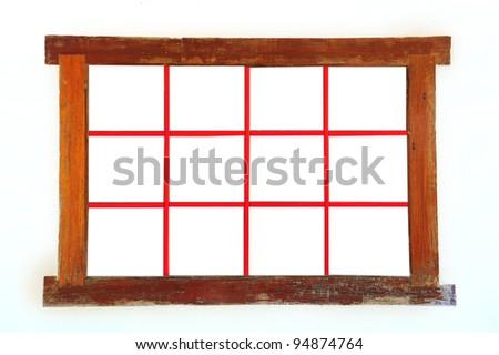 old window wood isolated on white background - stock photo