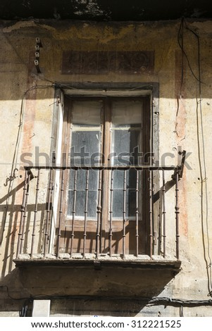 old windows and classical city of San Ildefonso, Palacio de la Granja in Spain