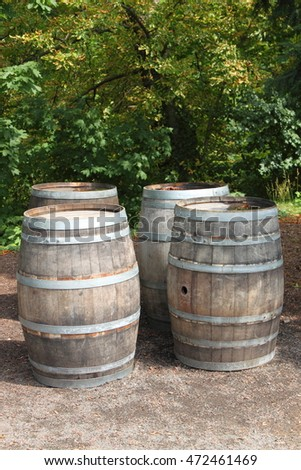 Old wine barrels in a vineyard