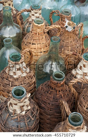 Old wine bottles - stock photo