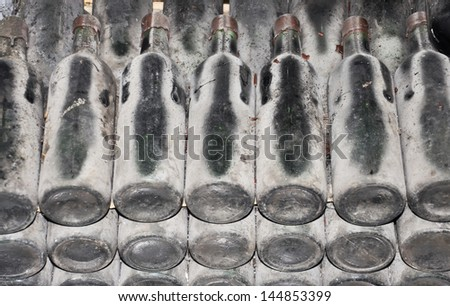 Old wine in a bottle. Imperial wine, end of the 19th eyelid - stock photo
