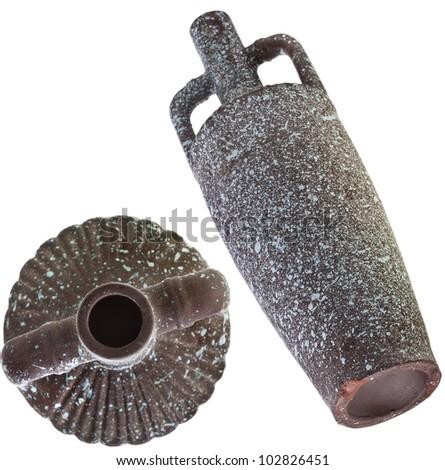 old wine pitcher jug crock isolated on white background - stock photo
