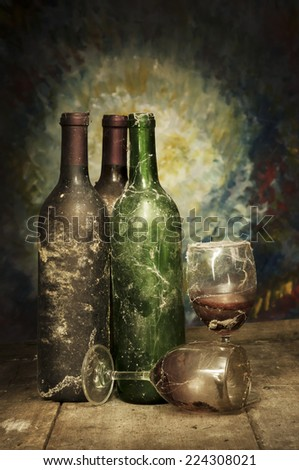 Old Wine Still Life  Photography - stock photo