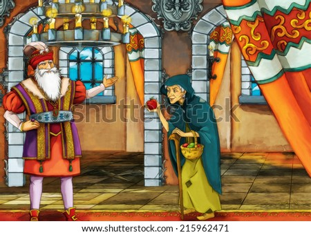 Old witch and a king - illustration for different subjects - for the children