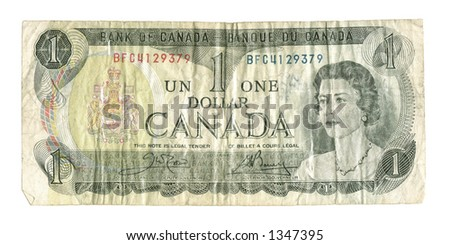 Old Withdrawn Canadian Banknote - The $1 bill ceased printing in  1989. These bills are virtually never seen in circulation today. - stock photo