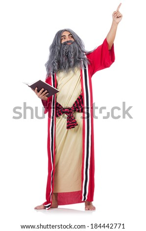 Old wizard isolated on the white background - stock photo