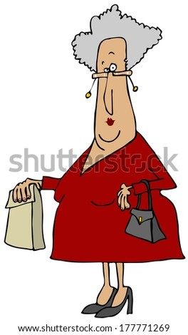 Old woman carrying a sack - stock photo