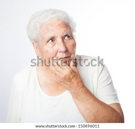 old woman concern thinking on a white background - stock photo
