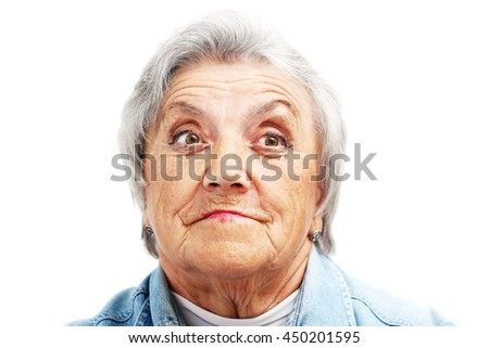 Old woman face. Grandmother - stock photo