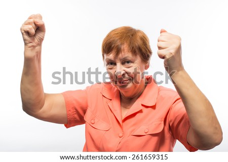 old woman hands up