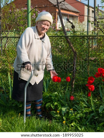 Old woman in the garden