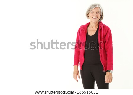 old woman is doing sports - stock photo