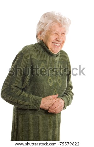 old woman isolated on white background - stock photo