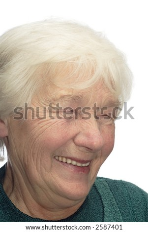 Old woman laughing, isolated on white background - stock photo