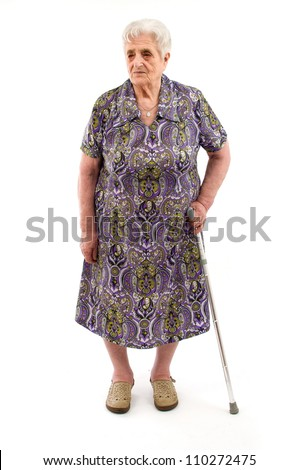 Old Woman on white background - stock photo