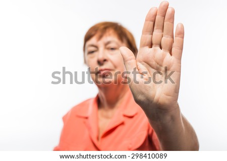 old woman palm - stock photo