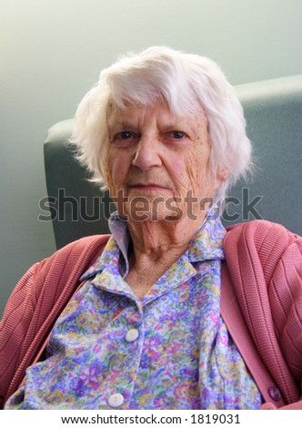 Old woman portrait, 93 years old.